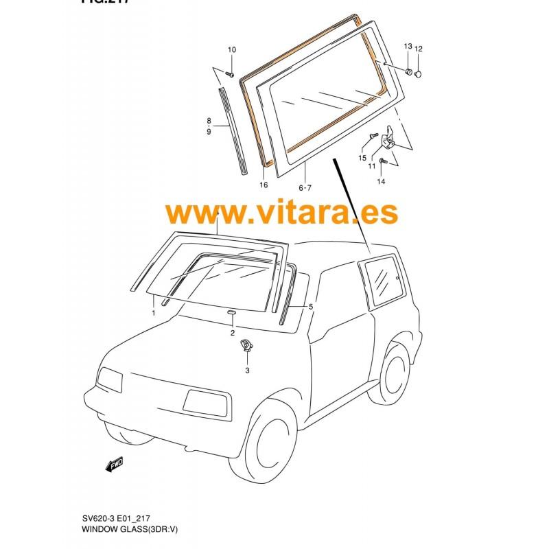 Goma ventanas laterales traseras vitara 3P Techo Chapa Modelo JLX