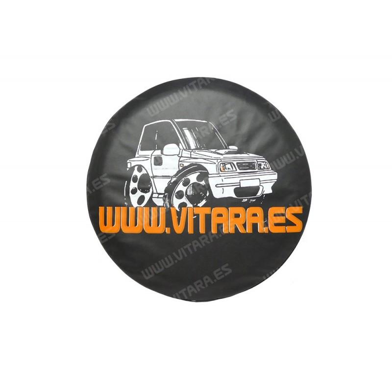Funda de lona negra rueda repuesto con logo
